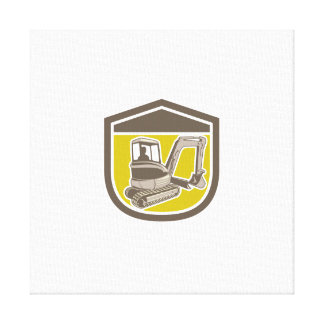 Mechanical Digger Excavator Shield Retro Gallery Wrapped Canvas