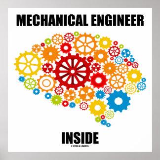 Mechanical Engineer Inside (Brain Gears) Poster