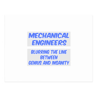 Mechanical Engineer Joke .. Genius and Insanity Postcard