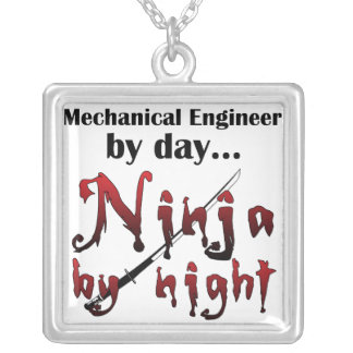 Mechanical Engineer Ninja Silver Plated Necklace