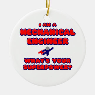 Mechanical Engineer .. What's Your Superpower? Double-Sided Ceramic Round Christmas Ornament