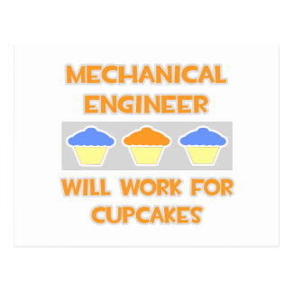 Mechanical Engineer ... Will Work For Cupcakes Postcard