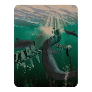 Mechanical fish and dolphins 4.25x5.5 paper invitation card