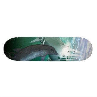 Mechanical fish and dolphins custom skateboard