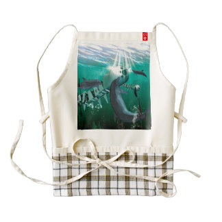 Mechanical fish and dolphins zazzle HEART apron