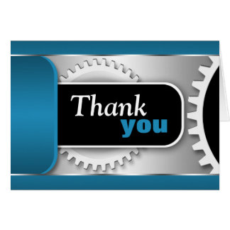 Mechanical Gears Blue custom Thank You Card