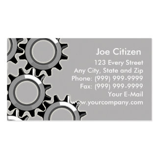 mechanical gears or cogs business cards