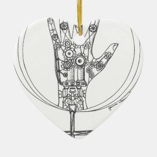 Mechanical Hand Ceramic Ornament