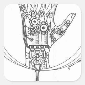 Mechanical Hand Square Sticker