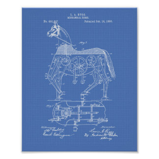 Mechanical Horse 1893 Patent Art Blueprint Poster