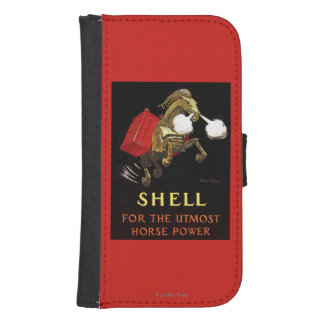 Mechanical Horse with Shell Oil Wallet Phone Case For Samsung Galaxy S4