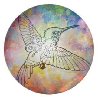 Mechanical Hummingbird Party Plate