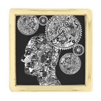 Mechanical Man Gold Finish Lapel Pin