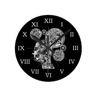 Mechanical Man Round Clock