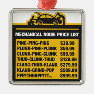 Mechanical Noise Price List Metal Ornament