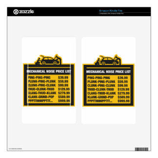 Mechanical Noise Price List Skins For Kindle Fire
