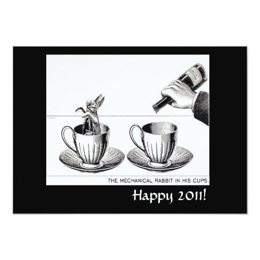 "Mechanical Rabbit New Years Eve invite 5"" X 7"" Invitation Card"