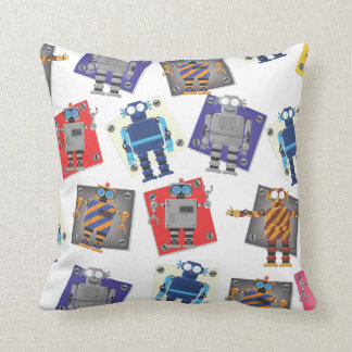 Mechanical Robots Cartoon Throw Pillow