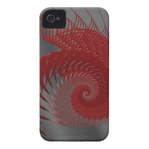 Mechanical Shell. Red and Gray Digital Art. iPhone 4 Cases