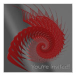 Mechanical Shell. Red and Gray Digital Art. 5.25x5.25 Square Paper Invitation Card