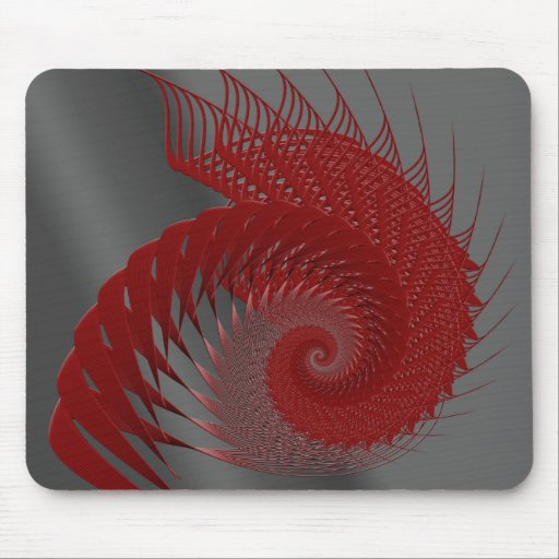 Mechanical Shell. Red and Gray Digital Art. Mouse Pad