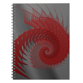 Mechanical Shell. Red and Gray Digital Art. Notebooks