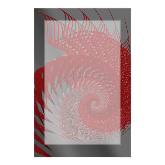 Mechanical Shell. Red and Gray Digital Art. Stationery
