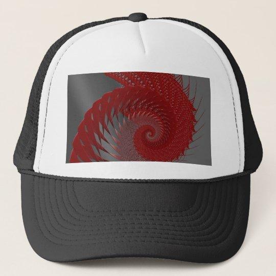 Mechanical Shell. Red and Gray Digital Art. Trucker Hat