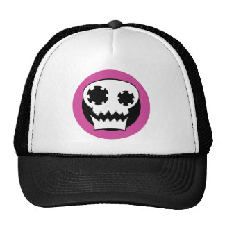 Mechanical Skull Pink Target Trucker Hat