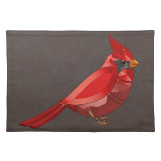 Mechanical Steampunk Cardinal in Faux Metallics Cloth Placemat