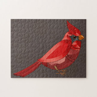 Mechanical Steampunk Cardinal in Faux Metallics Jigsaw Puzzle