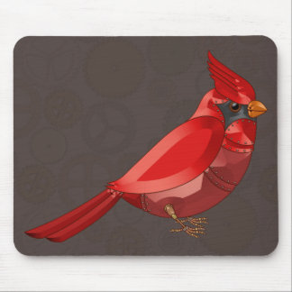 Mechanical Steampunk Cardinal in Faux Metallics Mouse Pad
