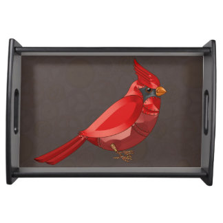 Mechanical Steampunk Cardinal in Faux Metallics Serving Tray
