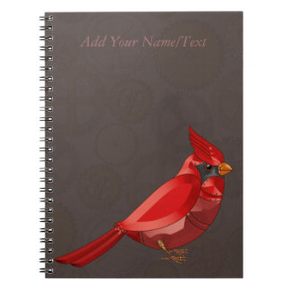 Mechanical Steampunk Cardinal in Faux Metallics Spiral Notebook