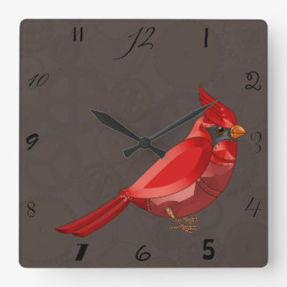 Mechanical Steampunk Cardinal in Faux Metallics Square Wall Clock