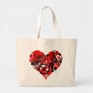 MECHANICAL STEAMPUNK HEART LARGE TOTE BAG
