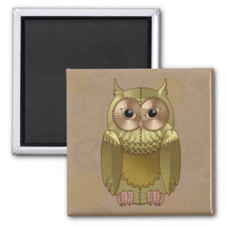 Mechanical Steampunk Owl in Faux Metallic Colors 2 Inch Square Magnet
