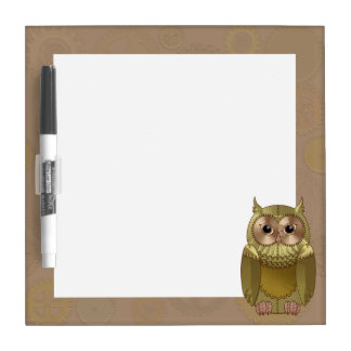 Mechanical Steampunk Owl in Faux Metallic Colors Dry Erase Board