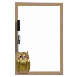 Mechanical Steampunk Owl in Faux Metallic Colors Dry-Erase Board