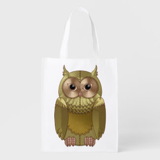 Mechanical Steampunk Owl in Faux Metallic Colors Grocery Bags