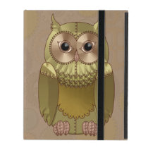 Mechanical Steampunk Owl in Faux Metallic Colors iPad Case