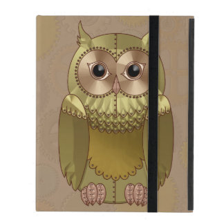 Mechanical Steampunk Owl in Faux Metallic Colors iPad Cases