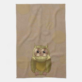 Mechanical Steampunk Owl in Faux Metallic Colors Towels