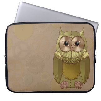 Mechanical Steampunk Owl in Faux Metallic Colors Computer Sleeves