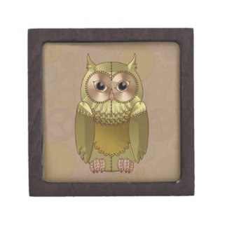 Mechanical Steampunk Owl in Faux Metallic Colors Premium Jewelry Boxes