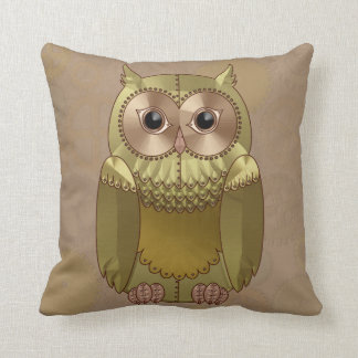 Mechanical Steampunk Owl in Faux Metallic Colors Throw Pillow