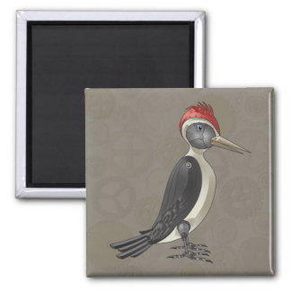 Mechanical Steampunk Woodpecker in Faux Metallics 2 Inch Square Magnet