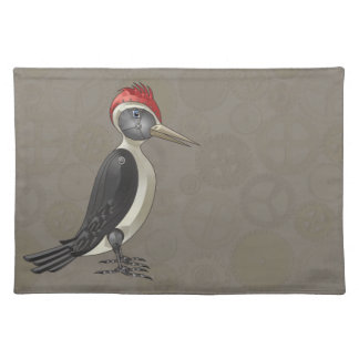 Mechanical Steampunk Woodpecker in Faux Metallics Cloth Placemat