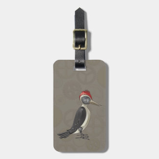 Mechanical Steampunk Woodpecker in Faux Metallics Luggage Tag