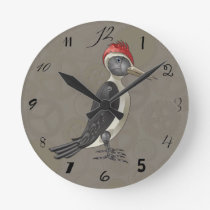 Mechanical Steampunk Woodpecker in Faux Metallics Round Clock